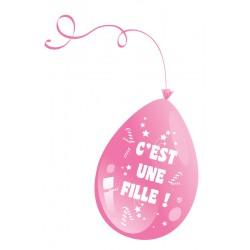 8 ballons C'est un fille rose