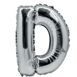 Ballon lettre D 36 cm argent