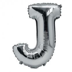 Ballon lettre J 36 cm argent